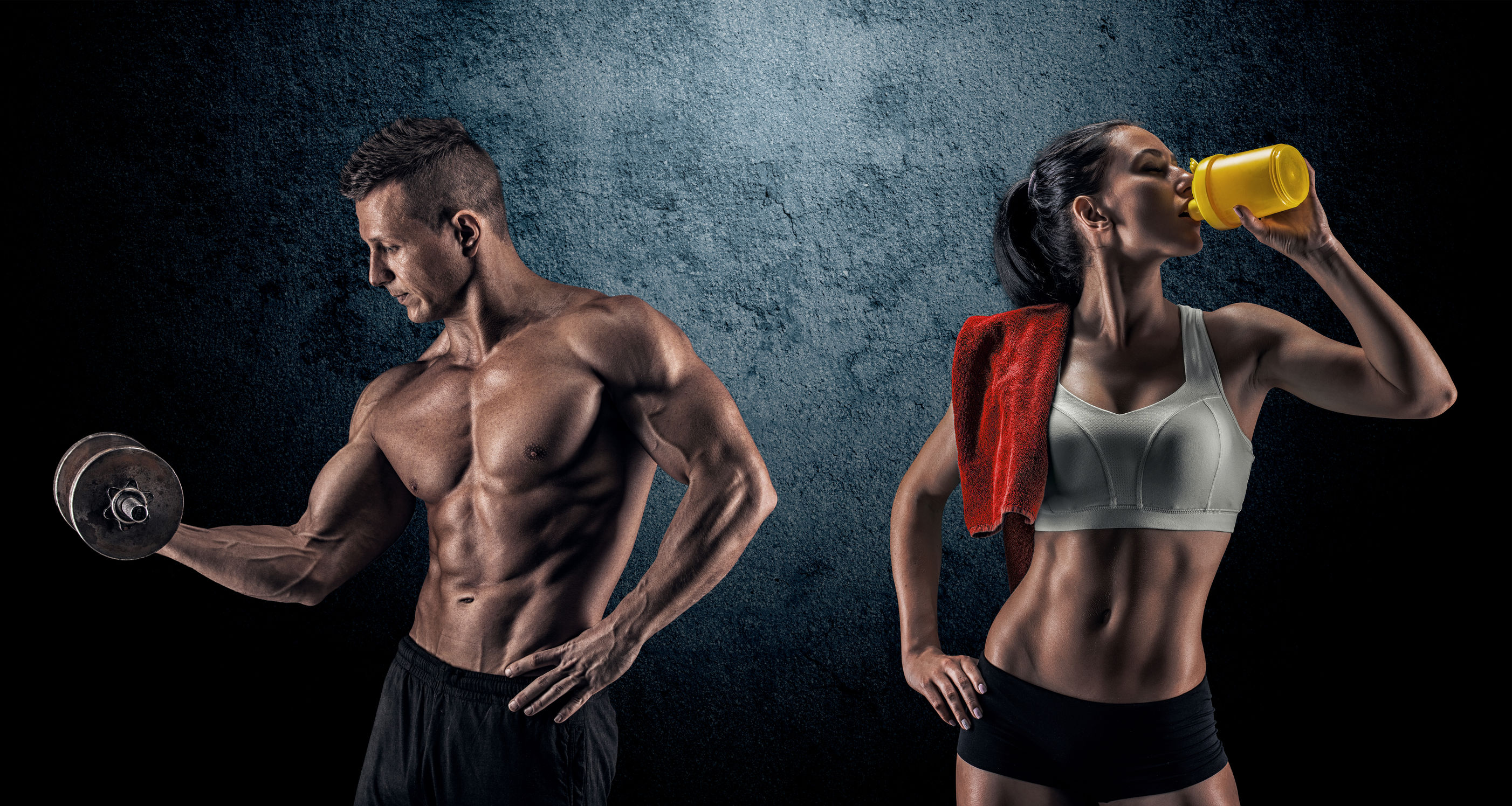 44310986 - bodybuilding. strong man and a woman posing on a dark background