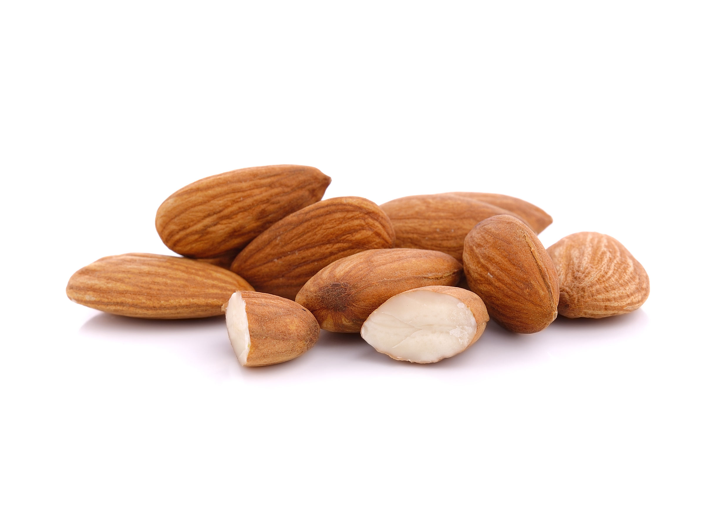 48129827 - almond nuts isolated on white background